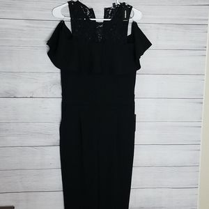 Express cold shoulder jump suit with lace size 8